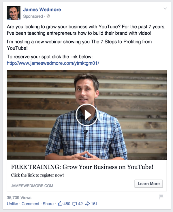 lead with question Facebook ad