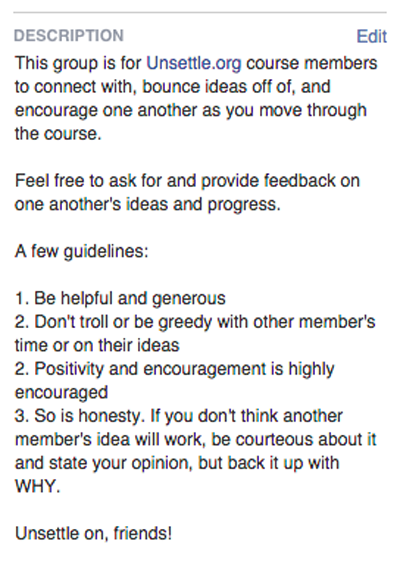 Facebook group guidelines