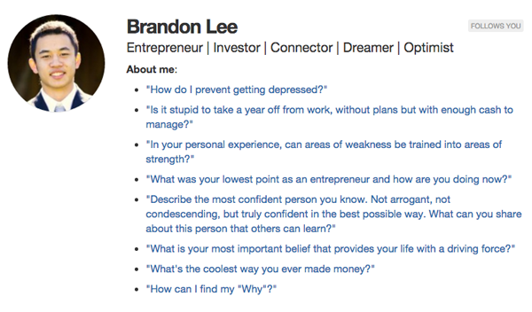 quora profile bio - brandon lee