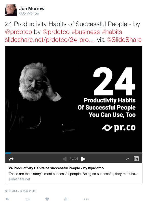 Slide Share - Native Twitter embed 003