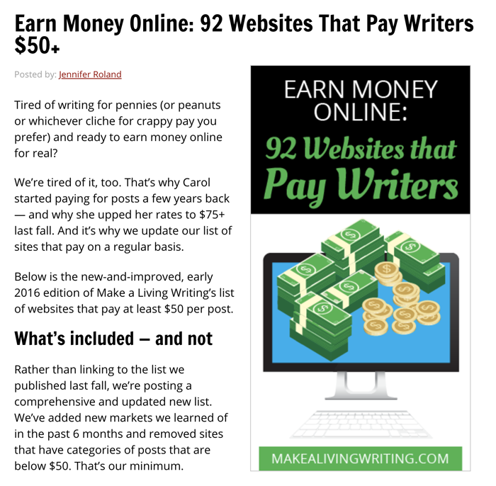 Websites That Pay Writers $50+