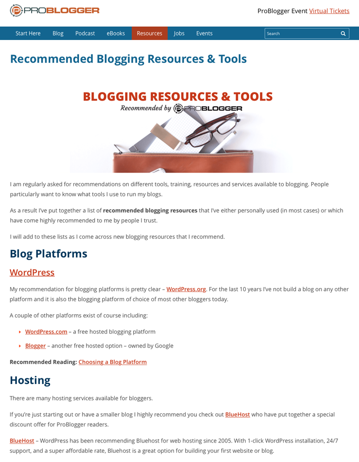 Problogger blogging resources