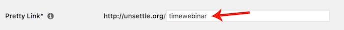 WordPress - Pretty Link URL