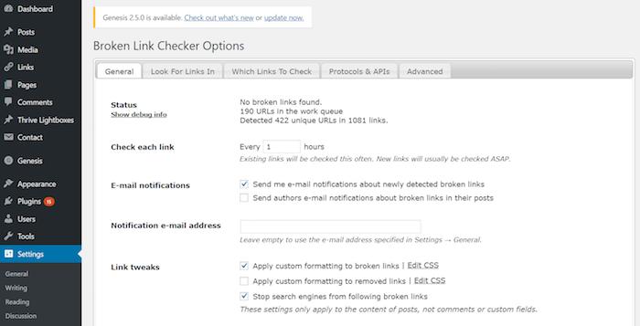 WordPress - Broken Link Status Checker Plugin