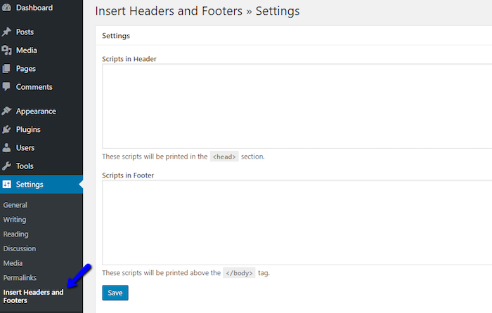 Insert Headers and Footers Plugin Dashboard