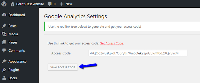 Save Google Analytics Access Code