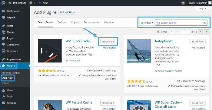 Search and Install WordPress WP Super Cache plugin