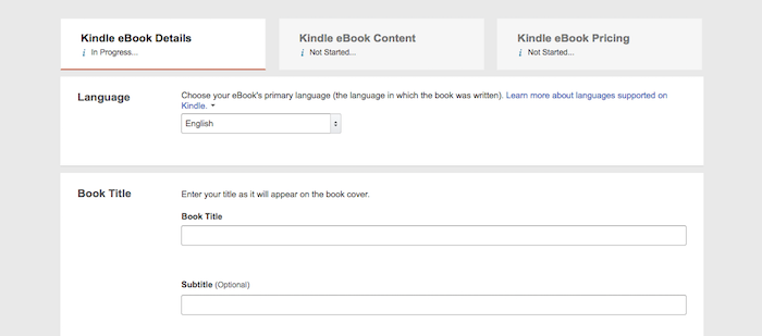 Kindle eBook details for publication