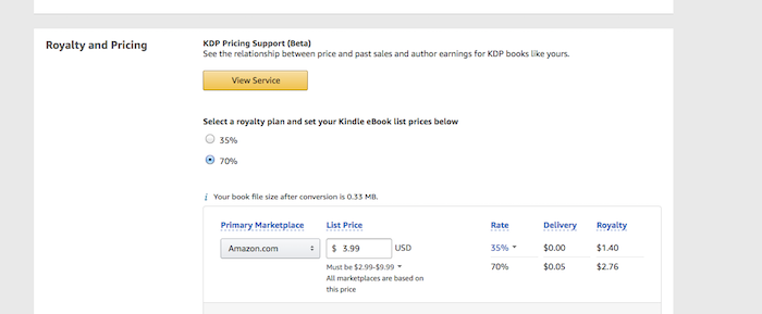 Enter Kindle eBook pricing