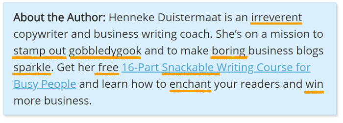 Using Words In Author Bios Henneke Duistermaat