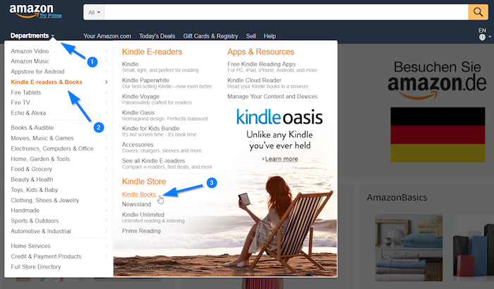 Navigate to Kindle books