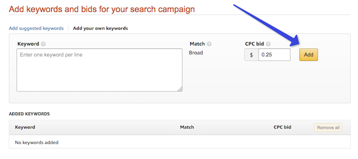 Set bid price for your keywords
