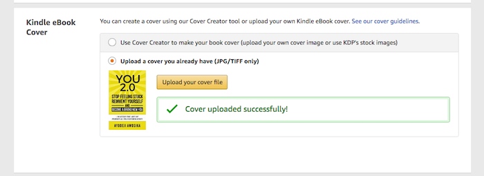 Upload Kindle cover file