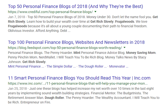 Best Personal Finance Blogs Google Query