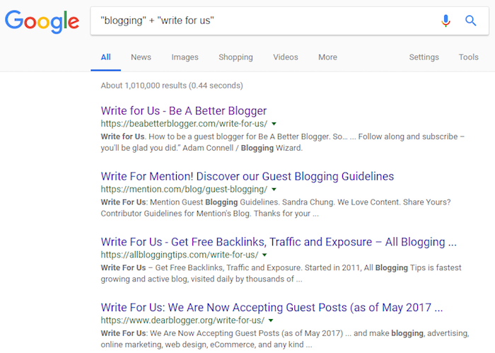 Use Google to find best places to guest blog.