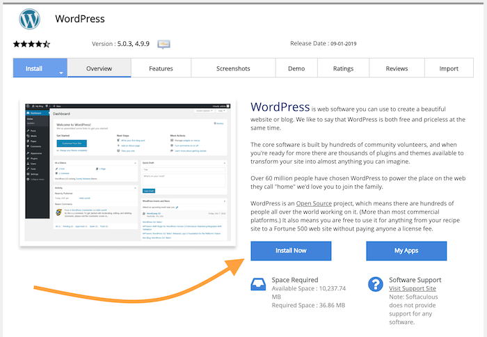 Click on the WordPress logo