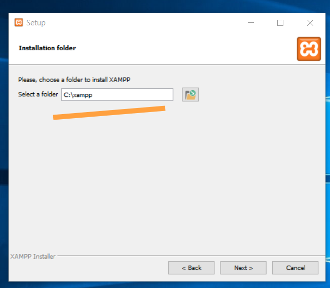 Select installation folder for XAMPP