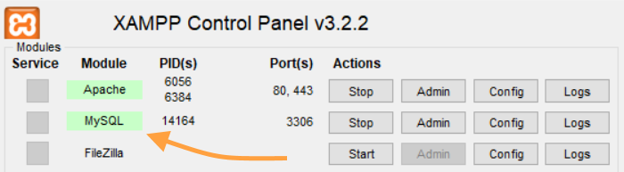 XAMPP configuration panel - 2