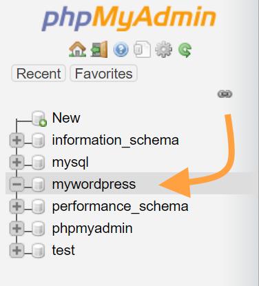 New blank WordPress database in phpmyadmin