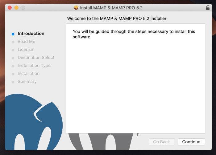 Launch the MAMP installer