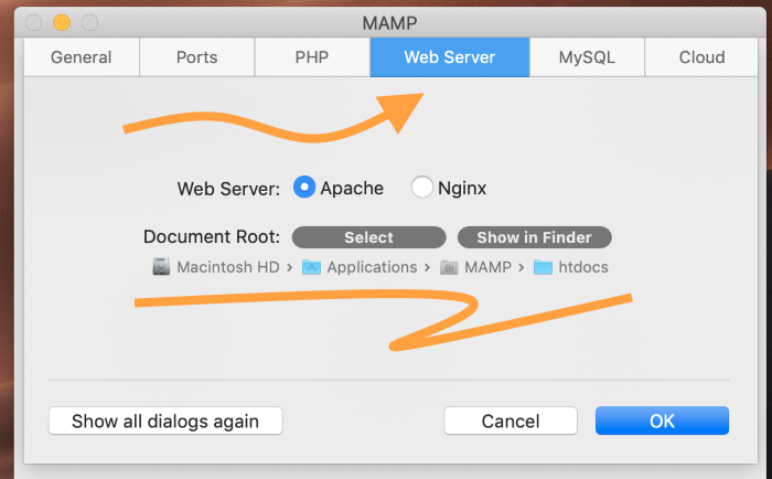 In MAMP settings, select Web Server tab