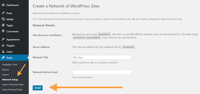 Create network of WP sites