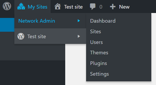 Multisites in WP dashboard