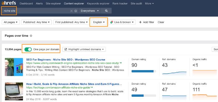 niche website content explorer