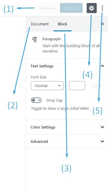 004 wordpress block editor sidebar navigation