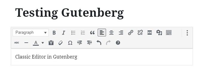 018 wordpress block editor classic block