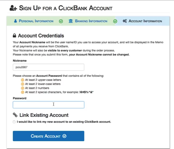 Fase di registrazione ClickBank 3