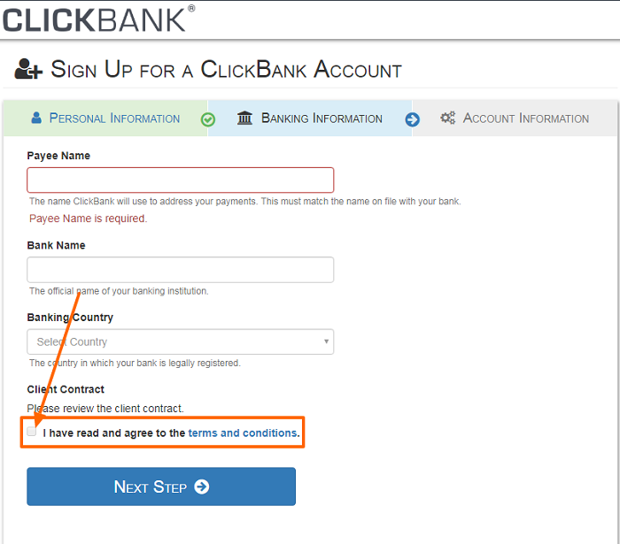ClickBank Account signup step 2