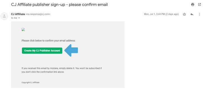 email di iscrizione affiliato cj