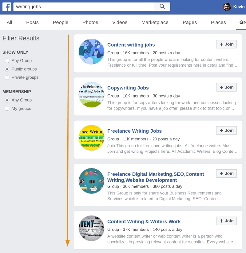 facebook groups for writing jobs