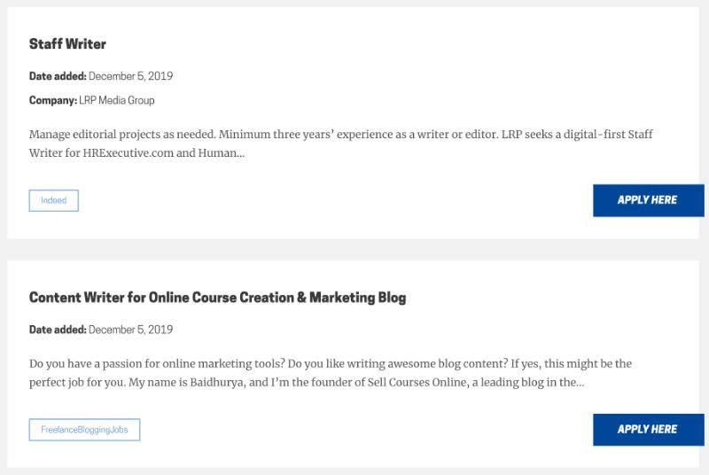 Sample job ads from freelancewriting.com
