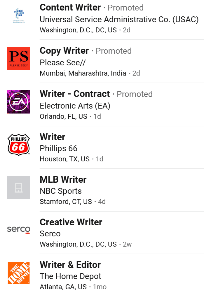 linkedin jobs example for writer