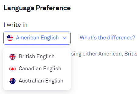 Grammarly Review: language preference
