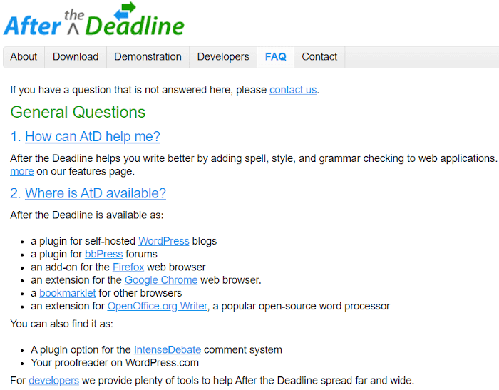 Afterthedeadline availability