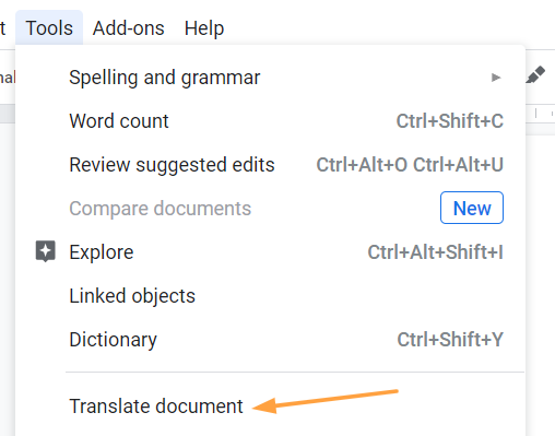 Google Translate under tools