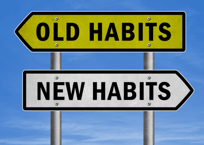 writing goals old new habits sign