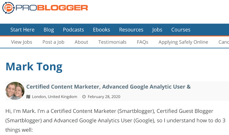 Problogger resume for Mark Tong