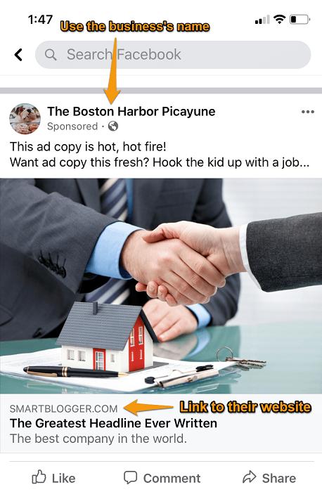 writing sample facebook ad screenshot
