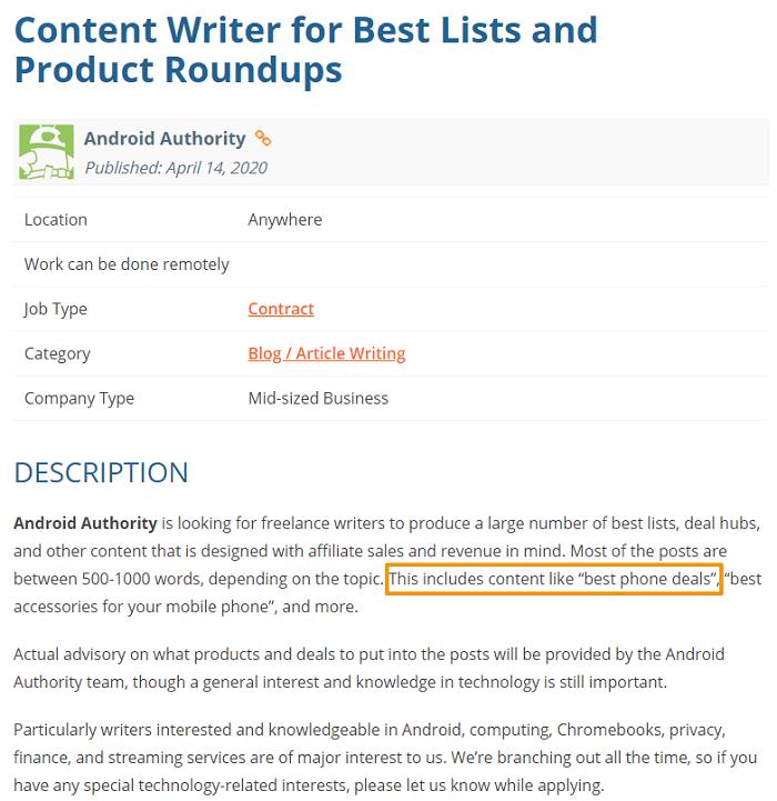 writing sample job ad screenshot android blog