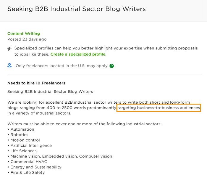 writing sample job ad screenshot b2b industrial