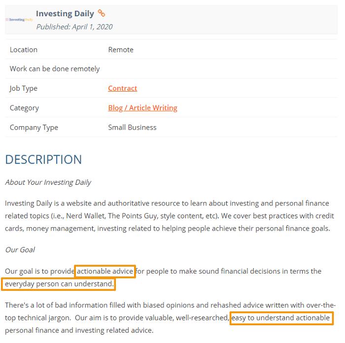 writing sample job ad screenshot finance blog 2