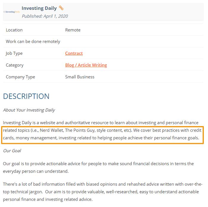 writing sample job ad screenshot finance blog