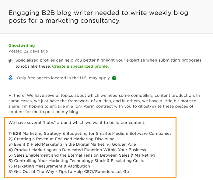 writing sample job ad screenshot marketing consultant