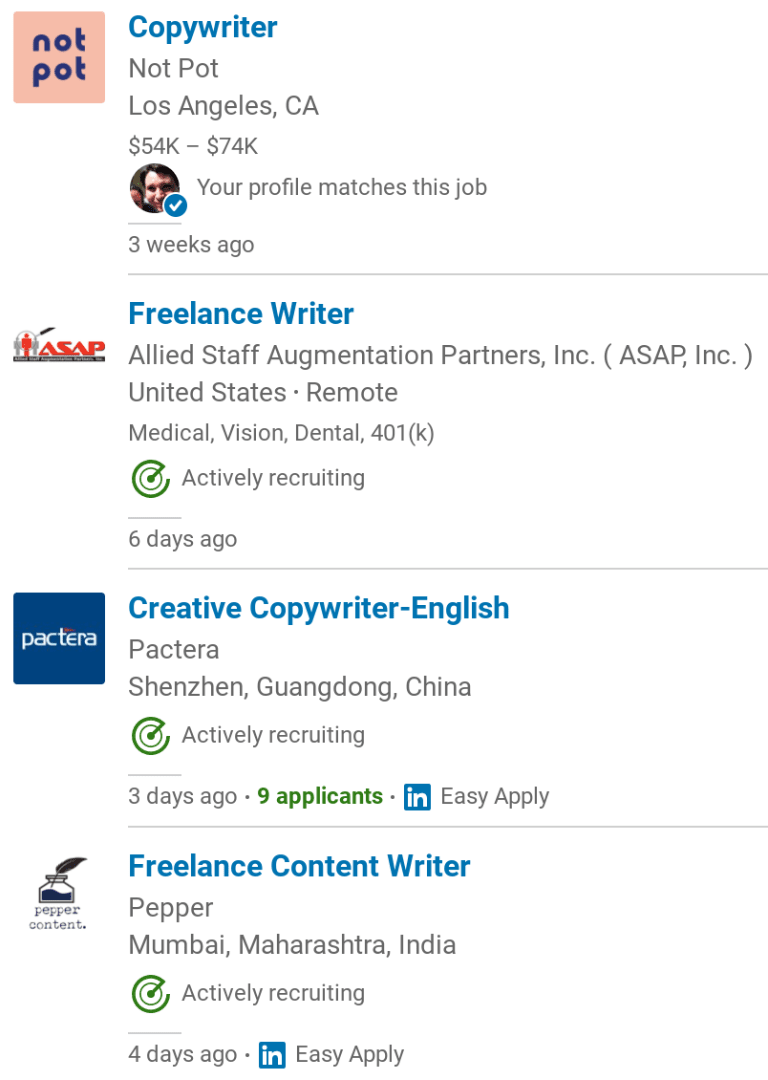 linkedin jobs example for copywriter