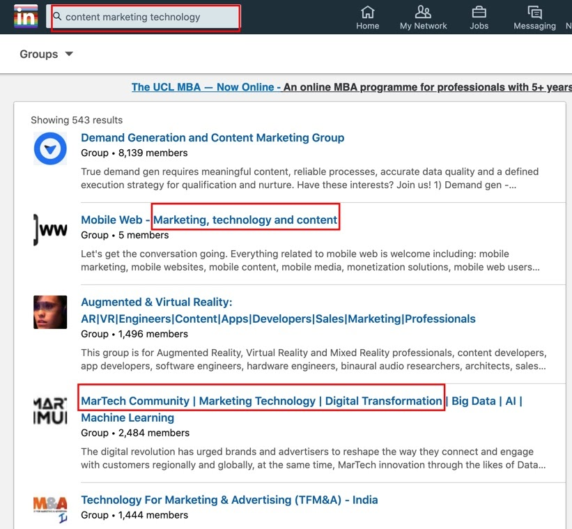 LinkedIn groups on content marketing technology