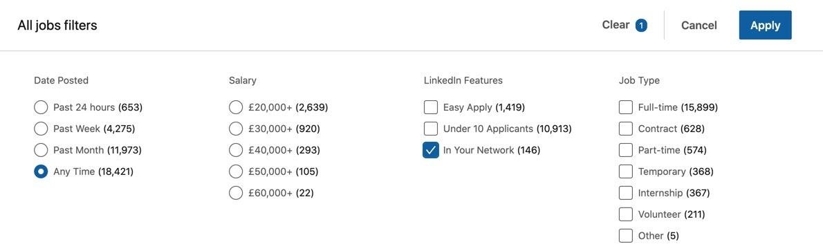 Job filters in LinkedIn
